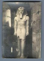 Egypt, Pharaon Statue  Vintage print. Tirage argentique  8x11  Circa 1900