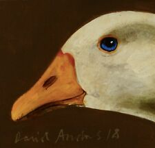 GOOSE : ORIGINAL OIL PAINTING : Farmyard Poultry Duck Bird Art by David Andrews