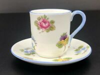 Shelley China Rose Pansy Forget Me Not - Blue Trim Miniature Cup & Saucer #13424
