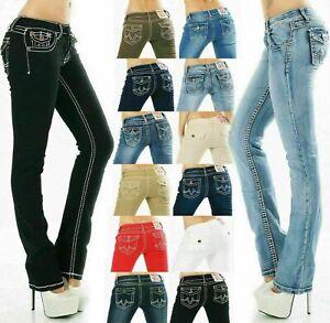 Women's Straight leg Jeans stretch Denim skinny embroidered Pants Sizes UK 8-16