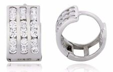 3 Row Hoop Huggie 10k Solid White Gold Earrings 1.00 TCW Simulated Diamonds