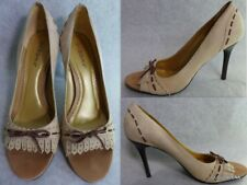 BCBGIRLS (Made in Brazil) Beige/Nude Suede LEATHER Open Toe pump 8B