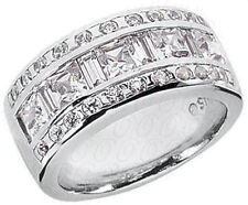 Diamond Ring Wedding Band 14k White Gold 2 carat Princess, Bageutte & Round cut