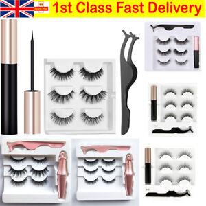 Waterproof Magnetic Eyeliner with Eyelashes and Tweezer 3 Pairs Set Long Lashes