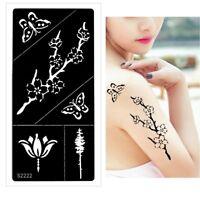 Henna Tattoo Schablone Airbrush Stencil Blume Schmetterling Kirschblüte Kina D