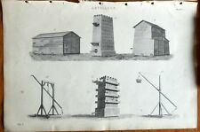 Antique print ARTILLERY - TREBUCHET SIEGE TOWERS etc copper plate engraving