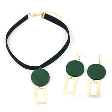 90's Harajuku Chic Jewelry Set Wood Round Dangle Velvet Choker Necklace Earrings