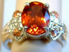 Orange Padparadscha Sapphire ring size 6.5 925 sterling silver USA made
