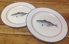 Williams Sonoma La Mer Fish Lacaze Silver #B NEW 2 Dinner Plates Sea Ocean Beach