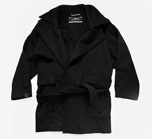 By Malene Birger Wool Coat Black Overcoat Smart Belted Designer Women's 38 Large