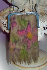 Antique1920s Pastel Floral Chain Mail Purse w Enamel Frame & Rare! Enamel Chain