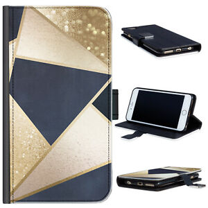 Black & Gold Marble Phone Case For iPhone 13/12/Pro/Max, PU Leather Flip Cover