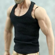 """Black Tank top Tshirt For 1/6 Scale Male 12"""" Action Figure 1:6 Model HT etc. Toy"""