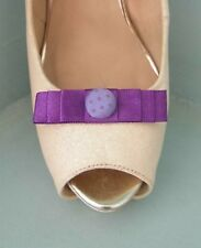 2 Small Purple Bow Clips for Shoes with Lilac Spotted Button Centre