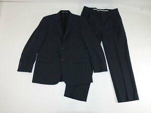 Pronto Uomo Men's Suit Size 41 Regular 34 x 30 Dark Gray 100% Wool Stretch 41R