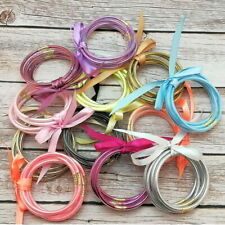 All Weather Glitter Bangles Set Glitter Filled Silicone Jelly Summer Bracelets