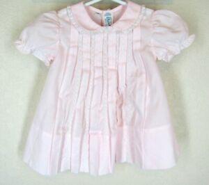 Feltman Brothers Baby Girls Pink Midgie Midi Pleated Dress Sz 3m 3 mos Lace Trim