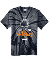 Drink Up Witches Men's Unisex Tie Dye T-Shirt Halloween Drinking Shirt