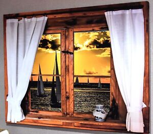 WINDOW FRAME 3D EFFECT CANVAS PICTURE PRINT WALL ART #2150