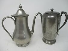 """Vintage Set of 2 Pewter Teapots 9.5"""" Old Essex By Jennings & 9"""" Old Colony"""
