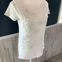 J Crew Slub Cotton Swirling Flower T-shirt 19305 White Womens Size Small