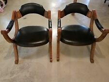 Pair Vintage DREXEL HERITAGE Black ARM CHAIR 1970's X Dante Savonarola CHAIRS