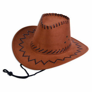 Cowboy Hat Leather Stitched Coffee adult  Wild West & Indians Fancy Dress