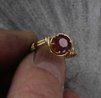 Natural Ruby Gemstone Ring in 14kt. Rolled Gold   Size 5 to 15   Wire Wrapped