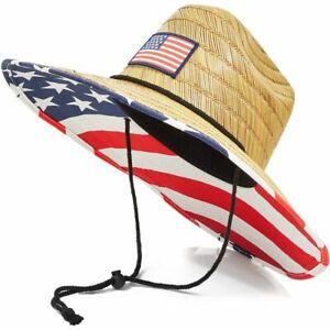 4th of July American Flag Patriotic Men's Straw Brim American Flag Beach Hat