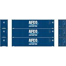 Athearn #23349 45' Container, AFCO/Shipping Line (3) HO Scale, MIB