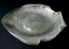 ANCHOR HOCKING - VINTAGE OVEN PROOF USA FISH SHAPED SEAFOOD PLATES - SET OF 4