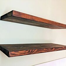 Rustic Floating Shelf, Thick Solid Wood, Concealed brackets included