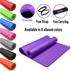 15MM THICK NBR YOGA MAT 183x61cm FOR PILATES GYM EXERCISE FREE Carry Strap & Bag