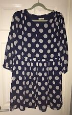WHISTLES NAVY BLUE WHITE POLKA DOT DRESS UK 14