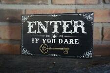 HAUNTED HOUSE SKELETON KEY SIGN - ENTER IF YOU DARE Primitive Halloween Decor