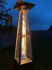 More details for modern pyramid patio heater 13kw stainless steel outdoor wheels cover included