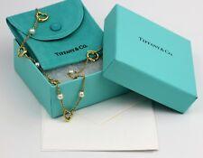 "Tiffany & Co Elsa Perretti Heart Akoya Salt Water Pearl Necklace 18k - 16"" w/Box"