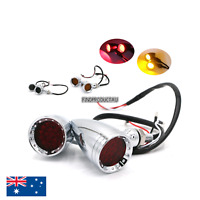 Chrome Black lens LED Turn Signal indicator Light Harley Kawasaki Yamaha cafe