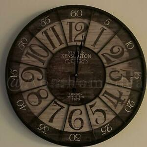 Vintage 54cm Kensington Station London Clock Rustic Industrial Wooden Wall Clock