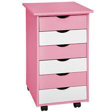 Cómoda para niños cajones contenedor con ruedas armario carrito rosa/blanco