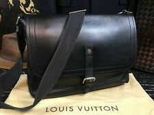 "LOUIS VUITTON Full Calf Leather 13"" Shoulder Messenger Satchel Travel bag Mens"