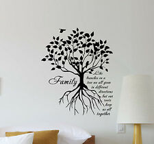 Family Tree Wall Decal Quote Vinyl Sticker Poster Bedroom Decor Art Mural 394