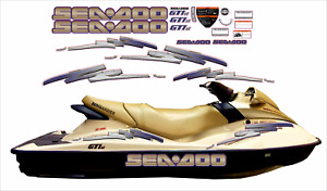 SEADOO GTI LE 2003 Graphics / Decal Replacement Kit GOLD / PURPLE