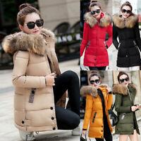 Women's Winter Warm Fur Collar Hooded Long Coat Jacket Parka Outwear Down Coat
