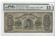 *1878*Dom of Canada DC-8e-i, $1 Har / Ser A, SN# A 083173 : PMG F-15