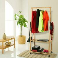 2 Tier Shelves Laundry Rack Bamboo Garment Shoe Clothe Storage Wardrobe