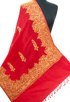 Red Wool Shawl Stole From India Embroidered With Gold Paisleys Kashmir Style