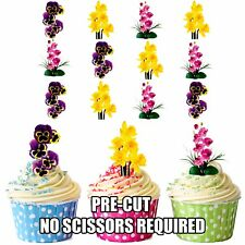 PRECUT Flowers Pink Purple Yellow 12 Edible Cupcake Toppers Cake Decorations