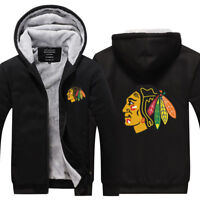 Chicago Blackhawks Winter Hoodie Zipper Coat Thicken Jacket Fleece Sweatshirt