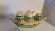VINTAGE JAPAN LUSTERWARE SALT & PEPPER SHAKERS CONDIMENT BOAT